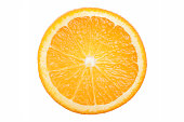 Ripe and juicy orange cross section. Close up. Top view. Isolated. White background. Fresh citrus fruit. Brilliant color. Sparse.