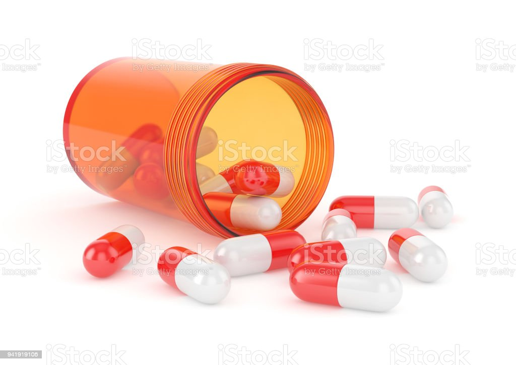 Orange pill battle with red pills stock photo