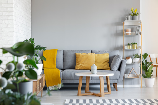 Orange Pillows And Blanket On Grey Couch In Living Room Interior With Wooden Table Real Photo — стоковые фотографии и другие картинки Без людей