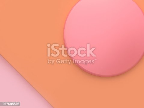 istock orange pink circle 3d rendering abstract scene minimal abstract background 947098876
