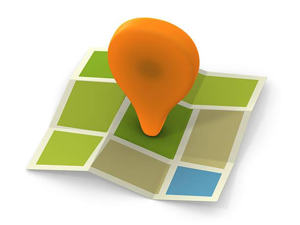Orange placemark on map stock photo