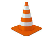Orange plastic cone with reflective stripes isolated on white background. 3D rendeing