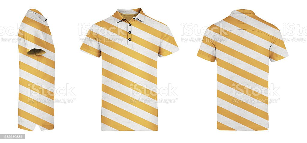 Orange Polo Shirt With Stripes - White Background stock photo