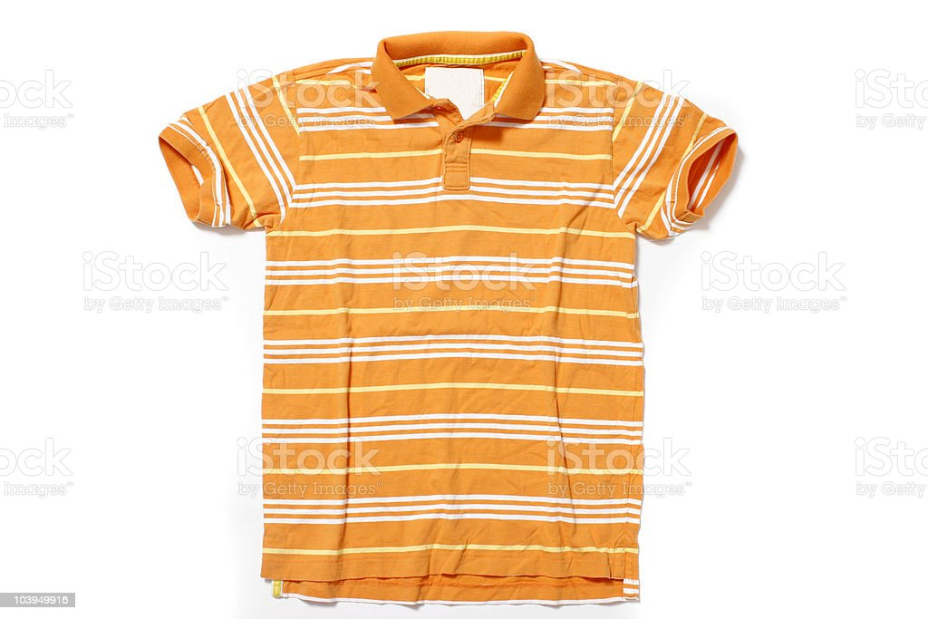 Orange Polo Shirt With White and Yellow Stripes royalty-free stock photo