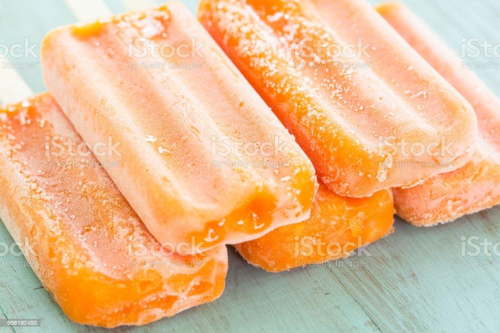 Orange Pop Ice Summer Treats stock photo