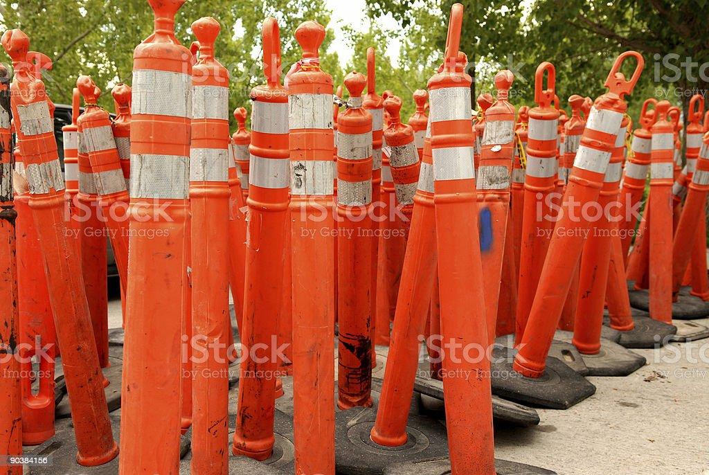 Orange Pylons stock photo