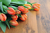 orange red bouquet of tulips. Copyspace on right side.