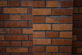 orange red brick wall close up background structure