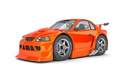 Orange - red Cartoon Muscle Car on white Background