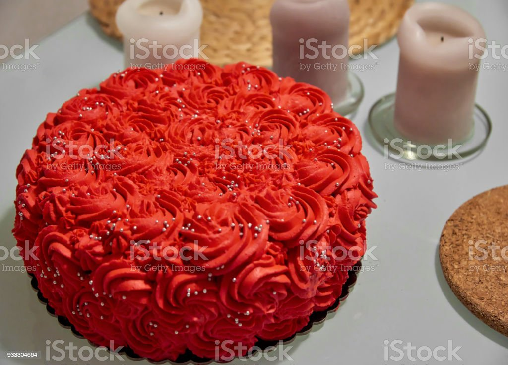 Orange Red Whipping Cream Cake Decorated With Silver Edible
