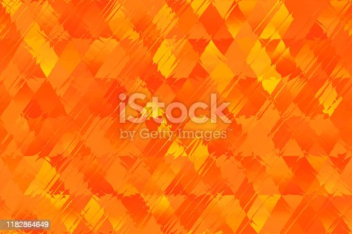 Orange Red Yellow Autumn Flame Fire Striped Diamond Seamless Pattern Triangle Rhomb Distorted Geometric Texture Blurred Background Digitally Generated Image