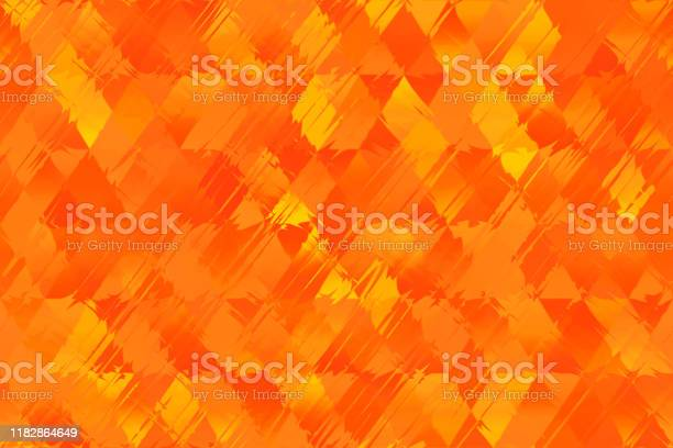 Photo of Orange Red Yellow Autumn Flame Fire Striped Diamond Seamless Pattern Triangle Rhomb Distorted Geometric Texture Blurred Background