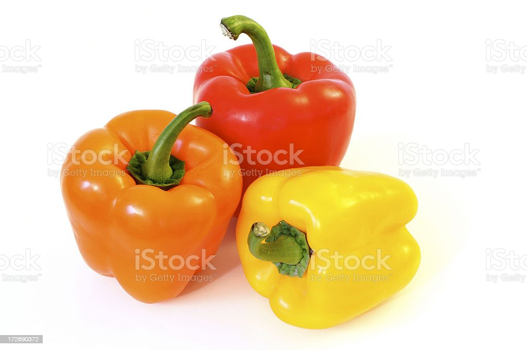 Orange, Red & Yellow Peppers royalty-free stock photo