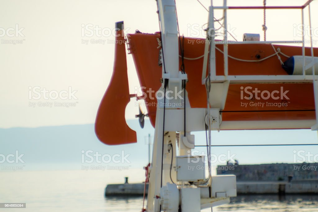 Orange rescue boat royalty-free stock photo