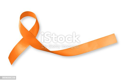 istock Orange ribbon for leukemia, kidney cancer, multiple sclerosis RSD awareness isolated on white background; Satin fabric color symbolic concept raising public support on people living with disease 999688036