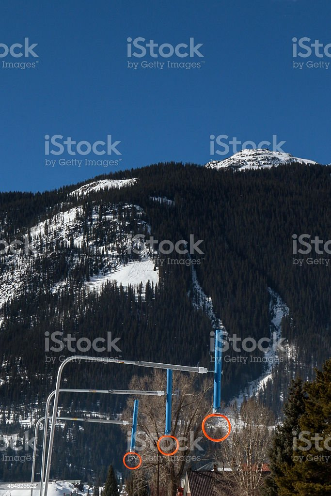 Orange rings for the Skijoring event stock photo