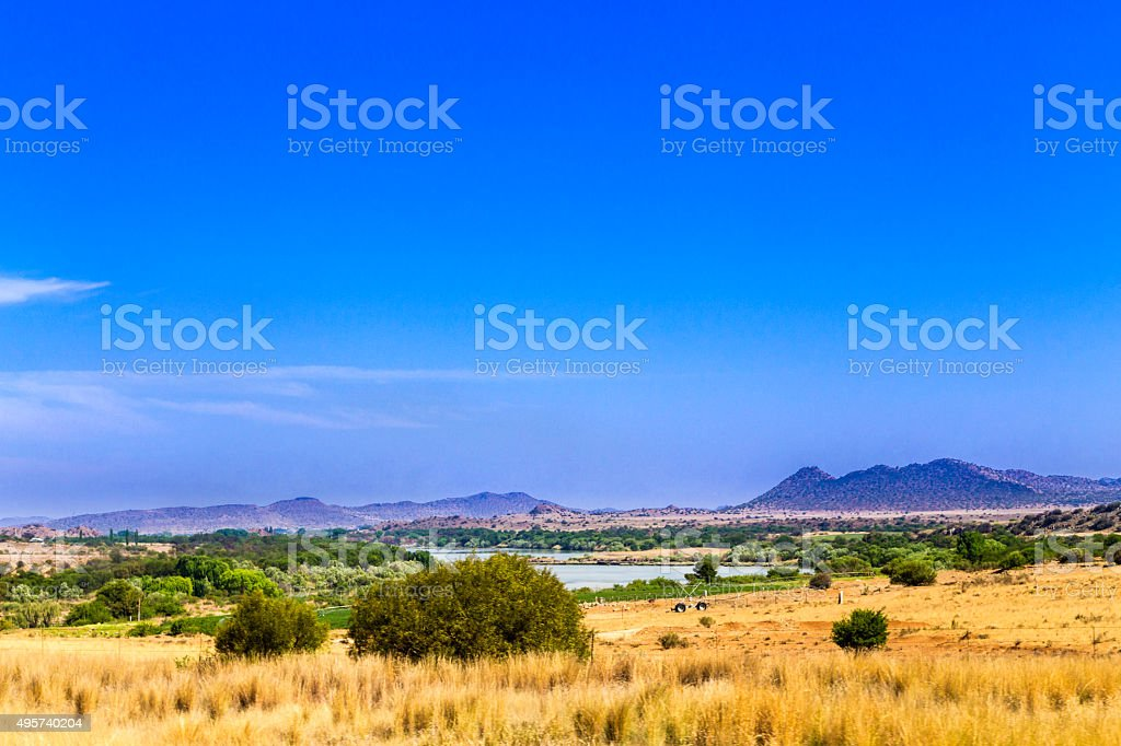 Orange River border to Northern Cape from Free state stock photo