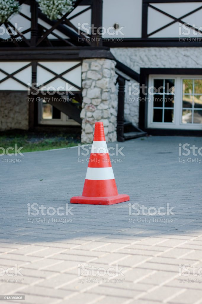 Orange road cone stock photo