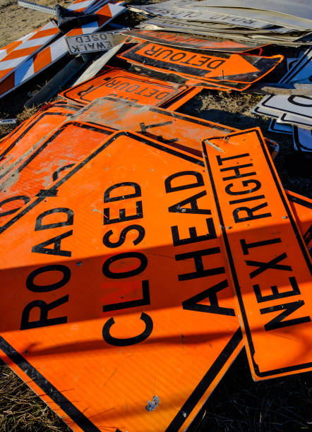 Orange Road Signs stock photo