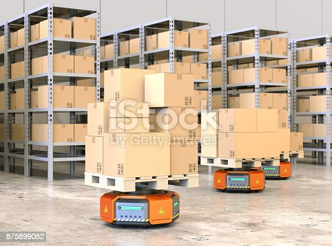 istock Orange robot carriers carrying pallets with goods in modern warehouse 875899052