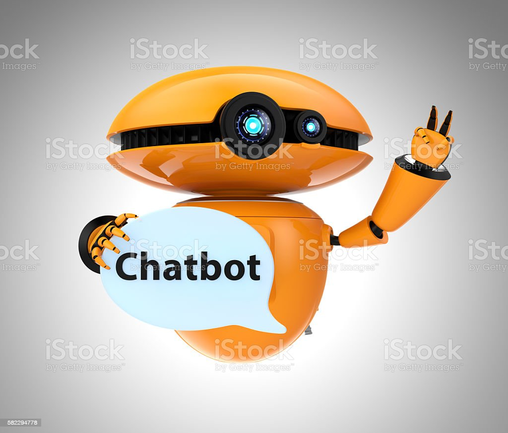 Orange robot holding chat bubble with 'Chatbot' text in it – Foto