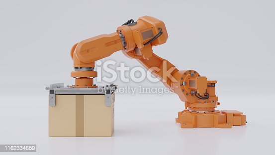 istock Orange robots arm are carrying a cardboard box 1162334659