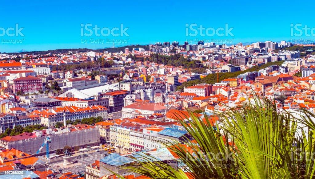 Orange Roofs Market Lisbon Portugal stock photo