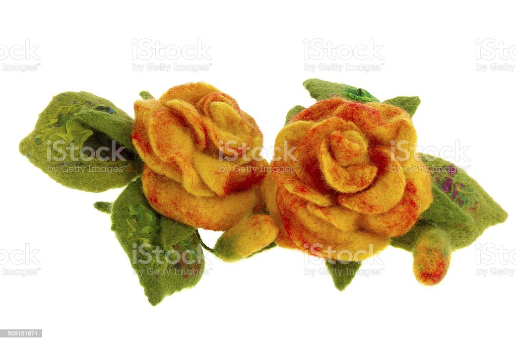 orange rose flower image made from woolwool stock photo