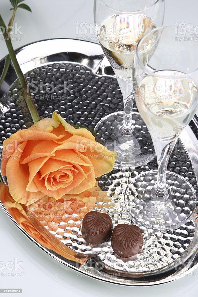 Orange Rose, Wine, Candy royalty-free stock photo