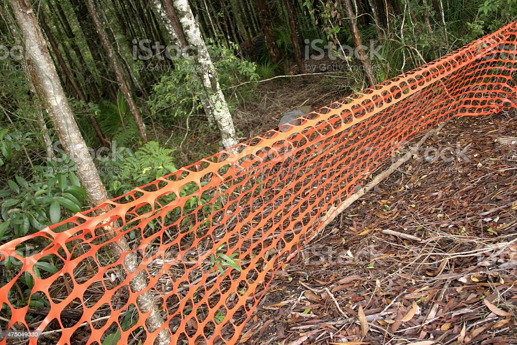 Orange Safety Mesh Fencing stock photo