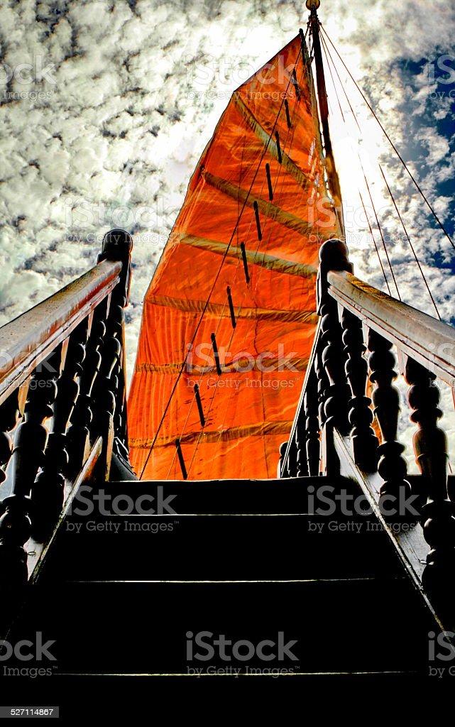 orange sail and steps stock photo