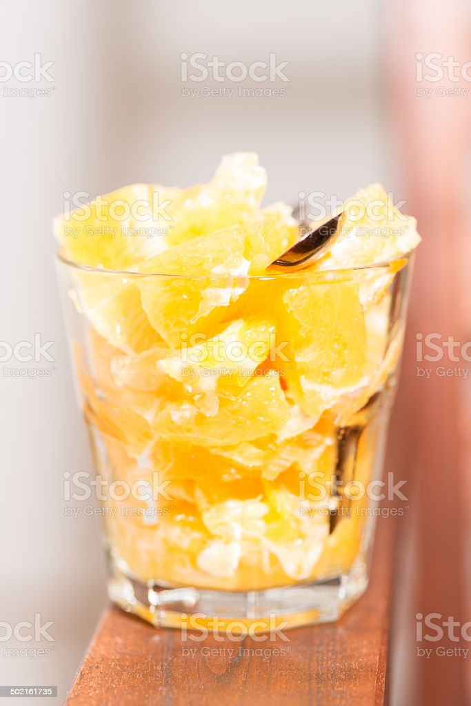 Orange salad in glass vertical royalty-free stock photo