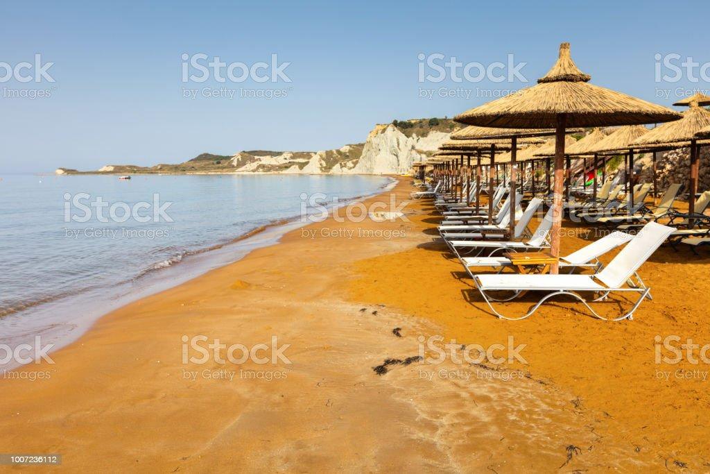 Orange sand beach stock photo