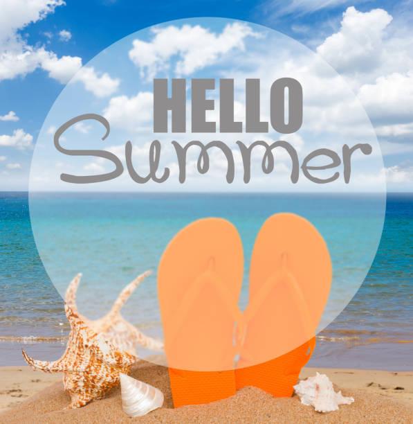 orange sandals and seashells in sand - foto stock