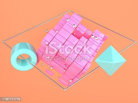 istock orange scene pink blue geometric shape levitation 3d rendering 1167717770