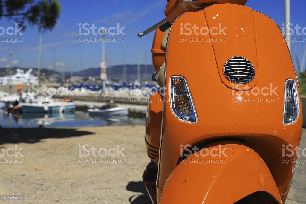 Orange scooter royalty-free stock photo