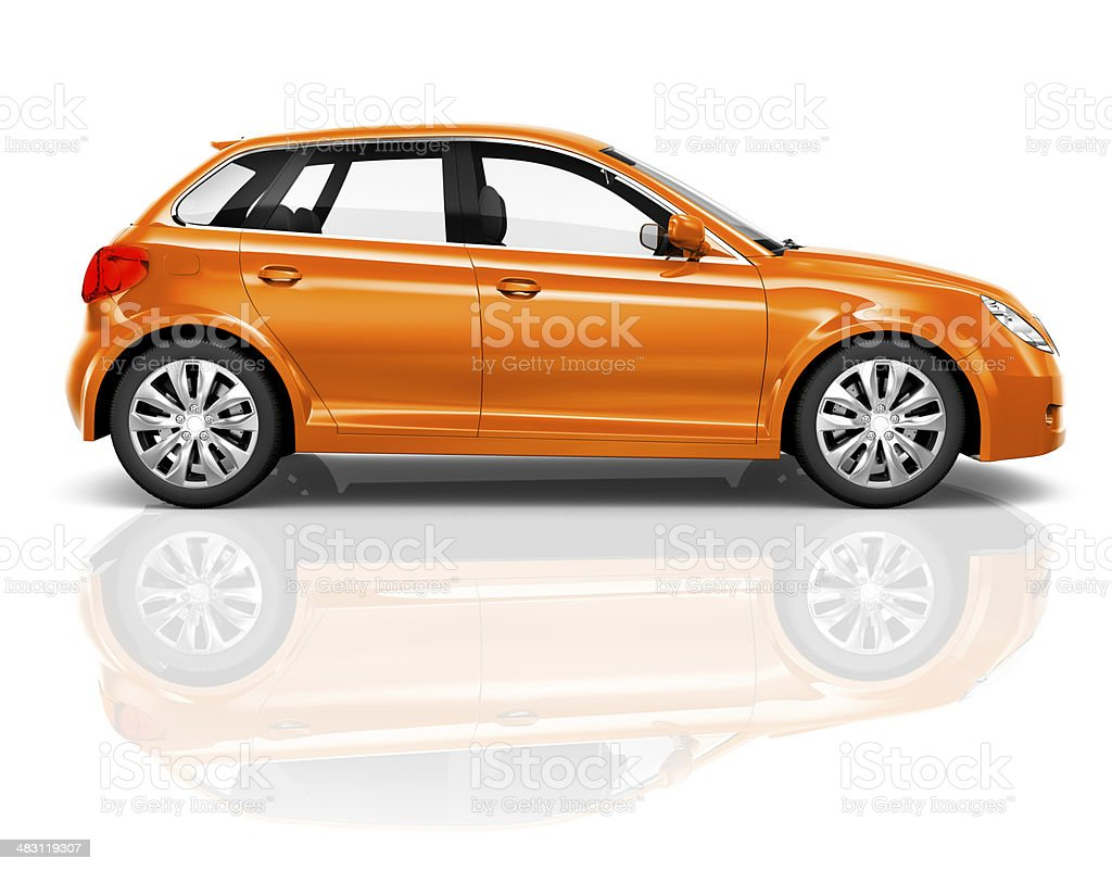 3D Orange Sedan on White Background stock photo
