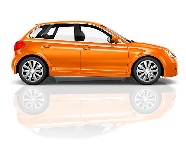 3 D sobre fundo branco, Sedan de laranja - foto de acervo