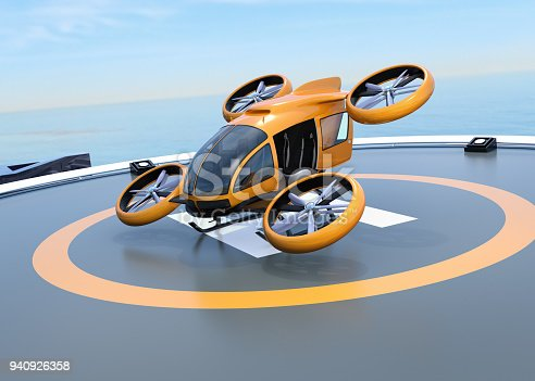 Orange self-driving passenger drone takeoff from helipad. 3D rendering image.