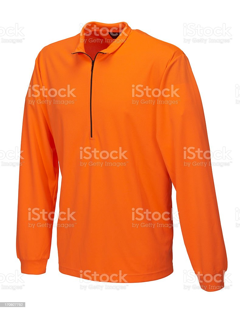 Orange shirt on white background royalty-free stock photo