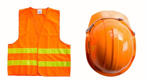 Orange Hemd Verwendung für Ingenieur oder Vorarbeiter mit orangefarbene Kappe – Foto