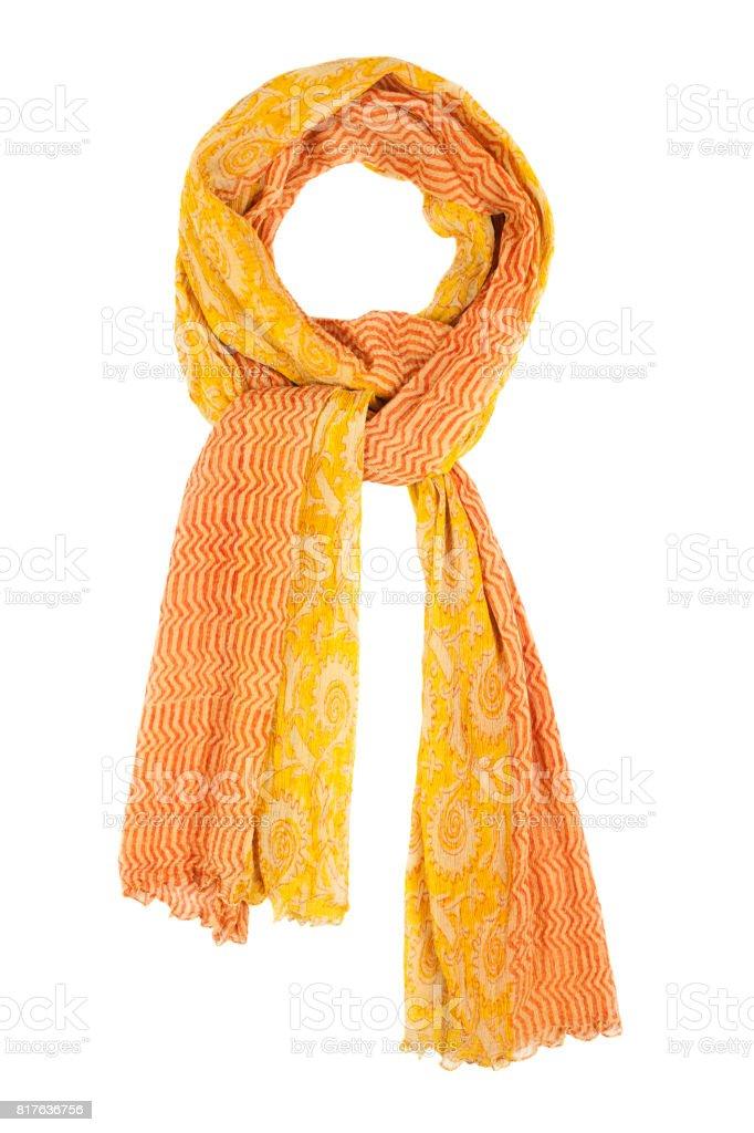 Orange silk scarf isolated on white background. stock photo