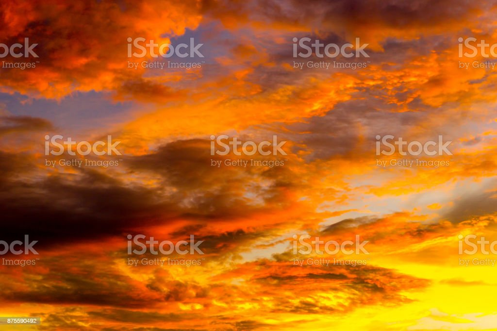 orange sky full of cloud at morning stock photo