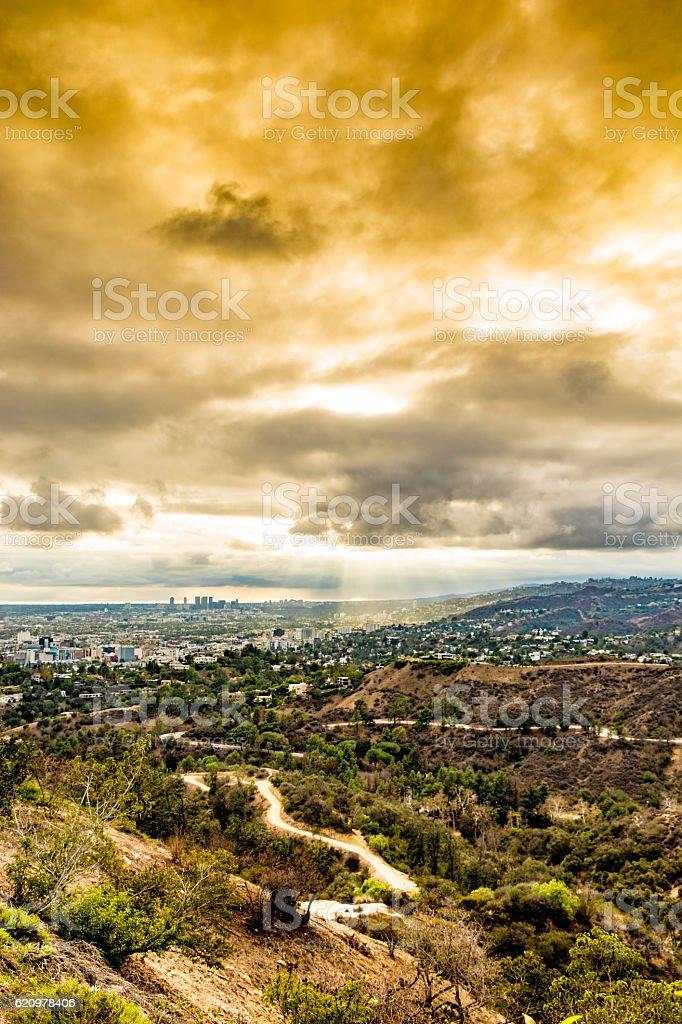 Orange sky over Santa Monica foto royalty-free