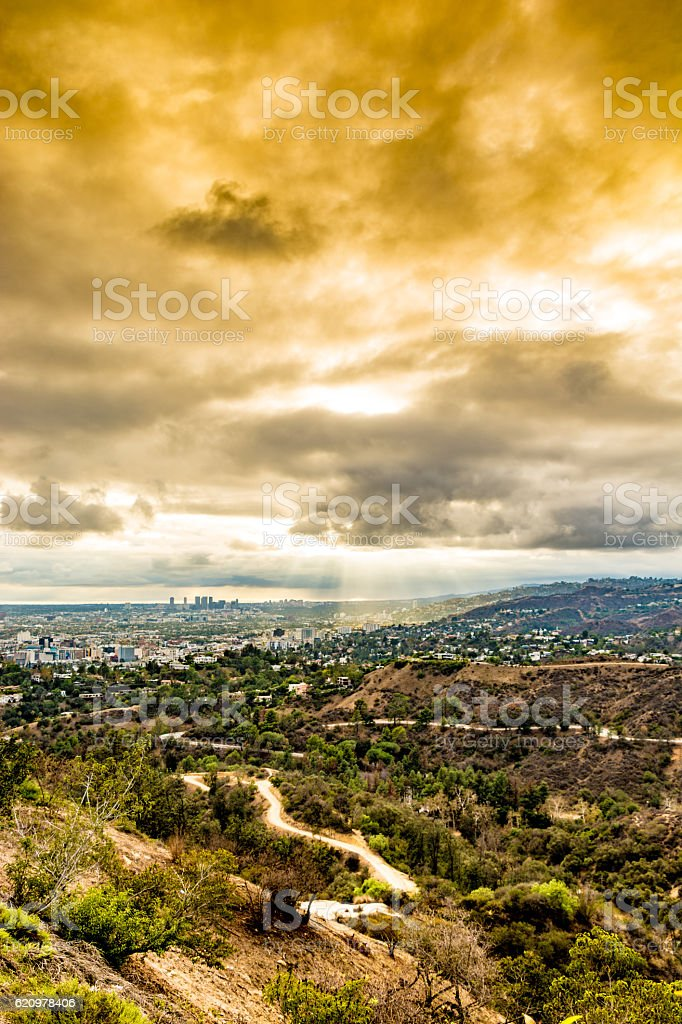 Orange sky over Santa Monica stock photo