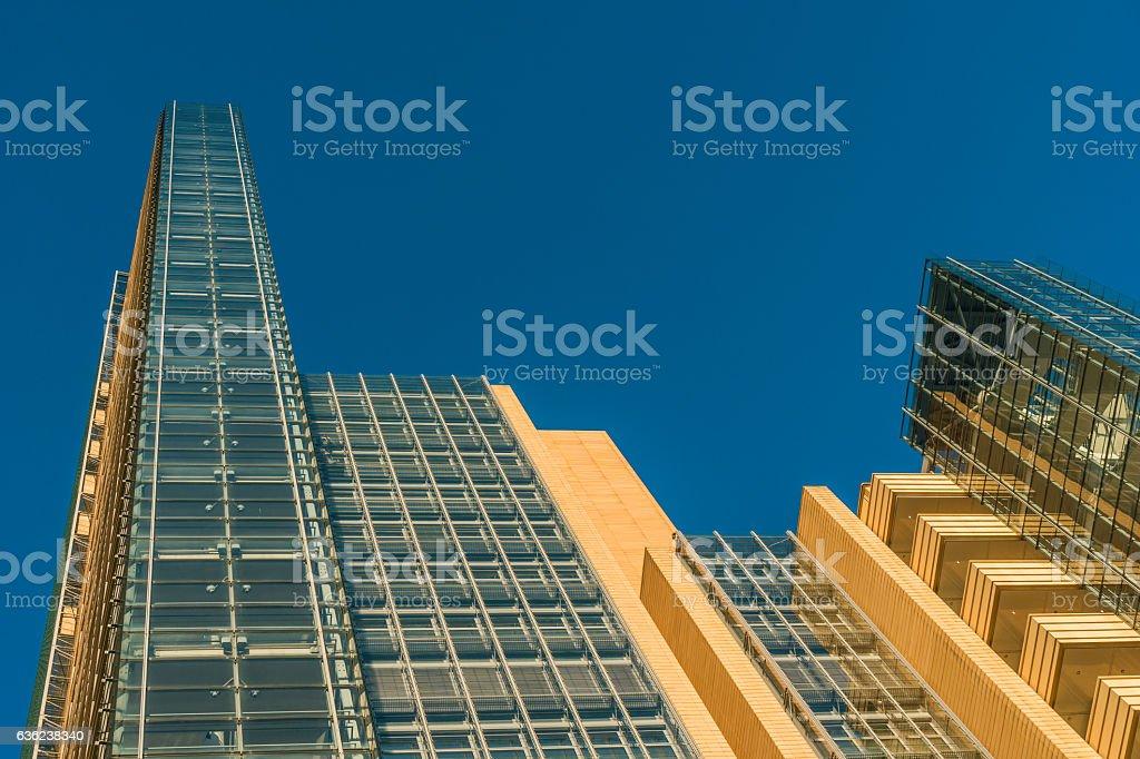 orange skyscrapers at potsdamer platz stock photo