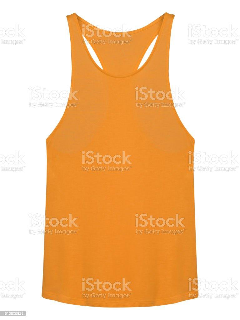 Orange sleeveless top t-shirt isolated on white background stock photo
