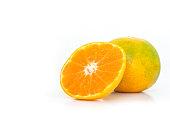 orange slice fruit fresh on white background