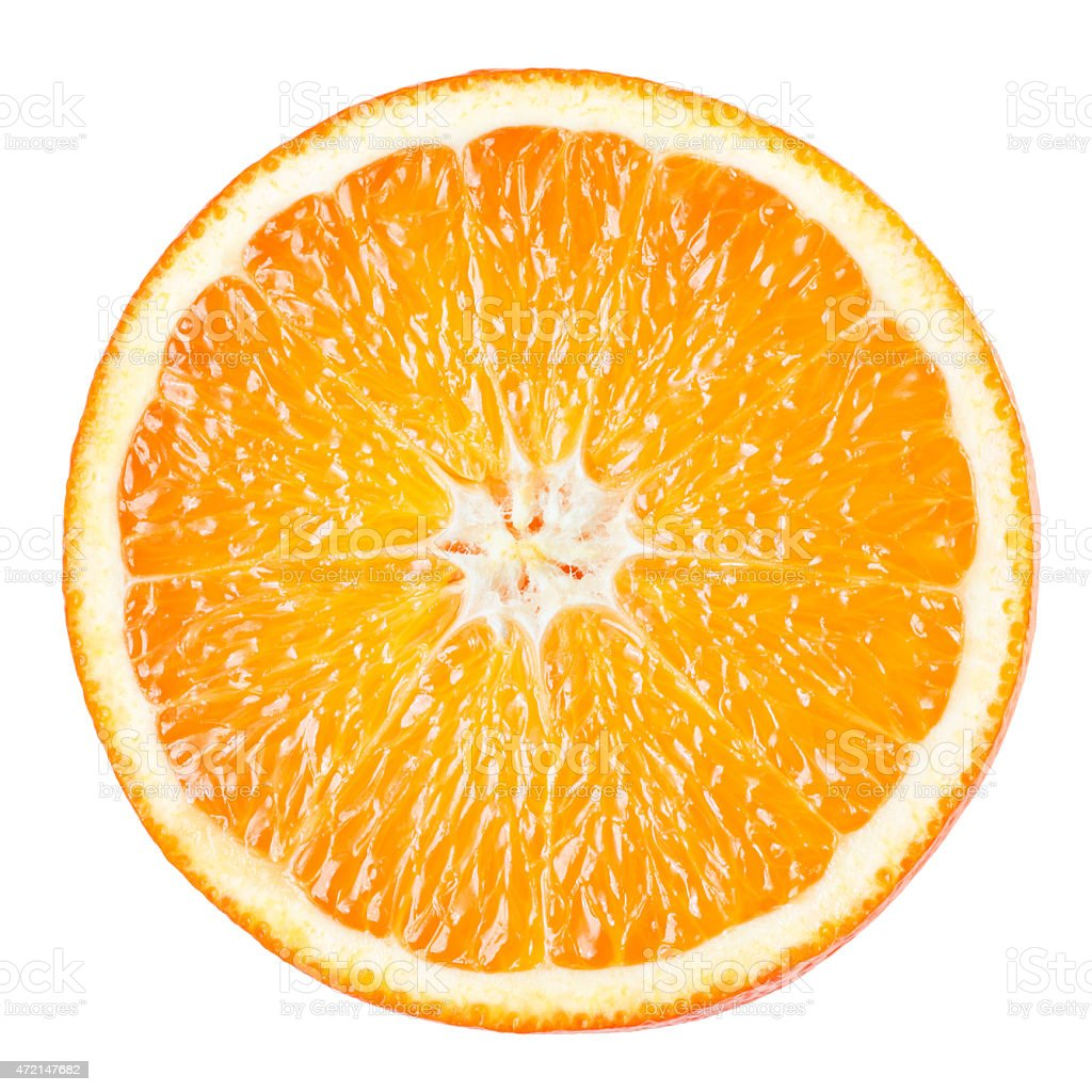 Orange slice isolated on white background stock photo