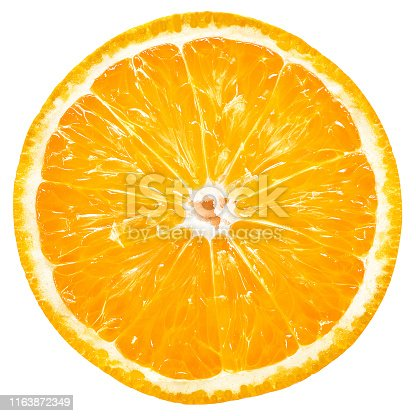 Orange fruit, slice, isolated, white background